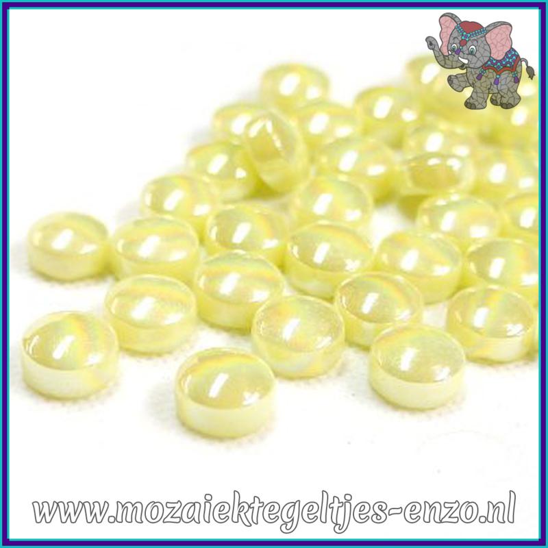 Glasmozaiek steentjes - Optic Drops Parelmoer - 12 mm - Enkele Kleuren - per 50 gram - Yellow Pollen