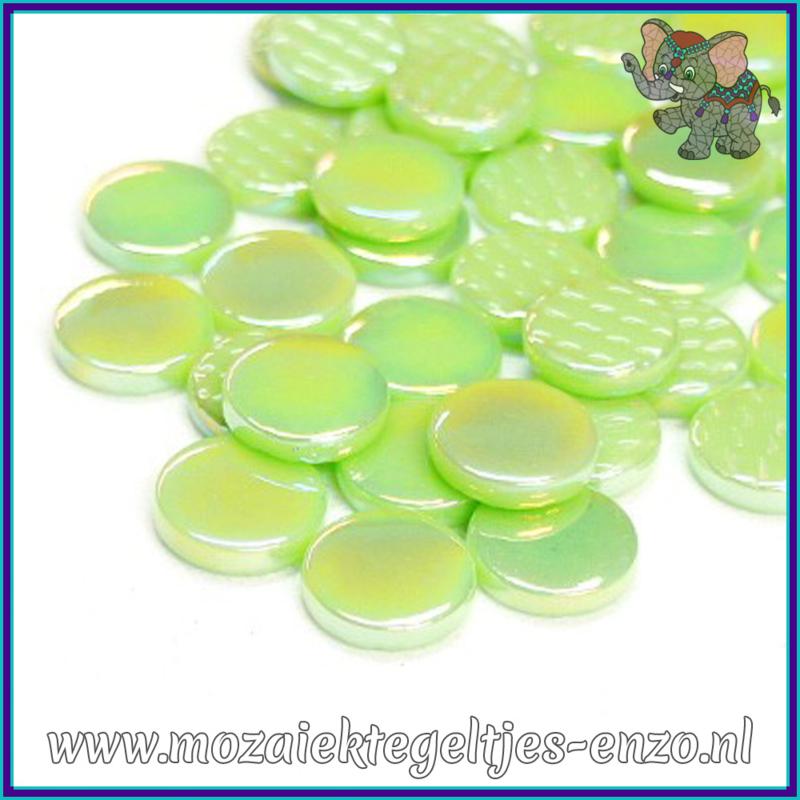 Glasmozaiek steentjes - Penny Rounds Parelmoer - 18 mm - Enkele Kleuren - per 50 gram - Mint Green