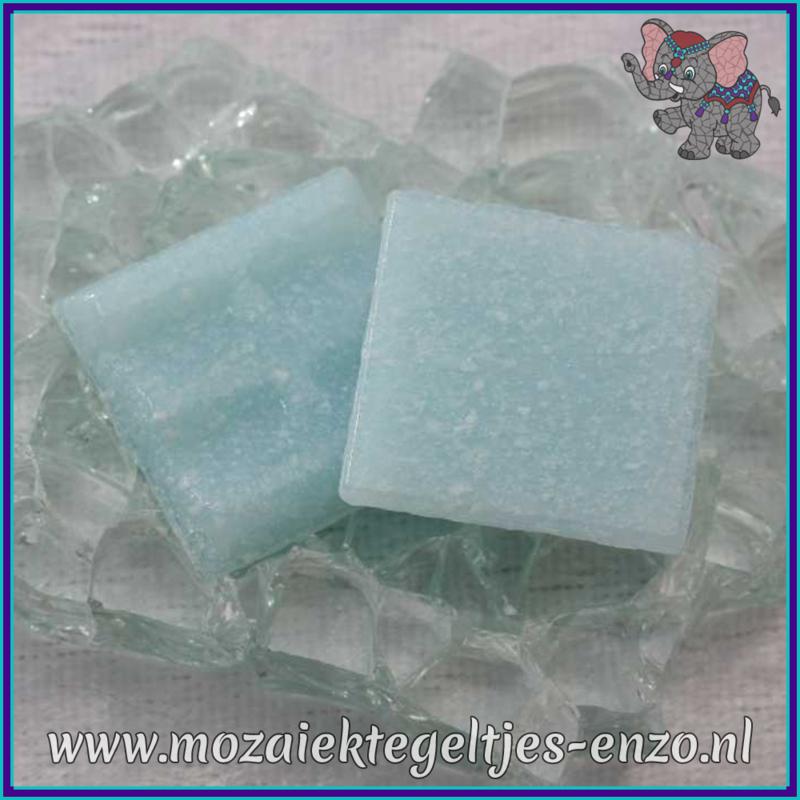 Glasmozaiek tegeltjes - Basic Line - 2 x 2 cm - Enkele Kleuren - per 20 steentjes - Iced Aqua A10