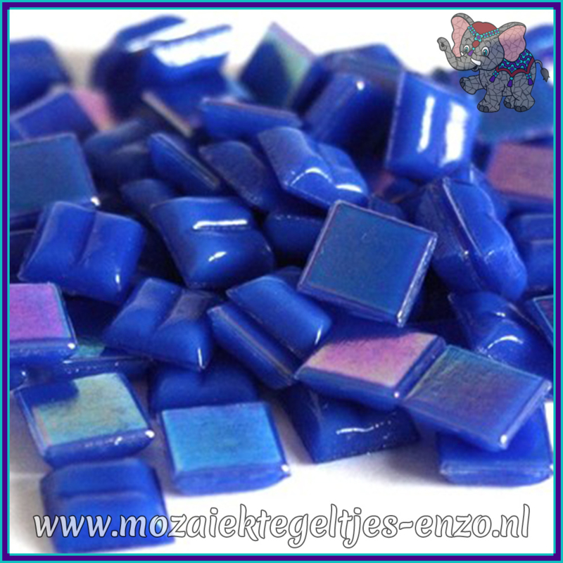 Glasmozaiek tegeltjes - Parelmoer - 1 x 1 cm - Enkele Kleuren - per 60 steentjes - Mini Sapphire Blue