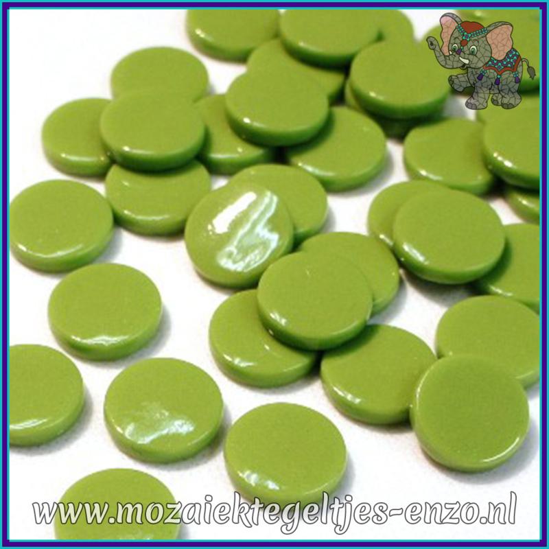 Glasmozaiek steentjes - Penny Rounds Normaal - 18 mm - Enkele Kleuren - per 50 gram - New Green
