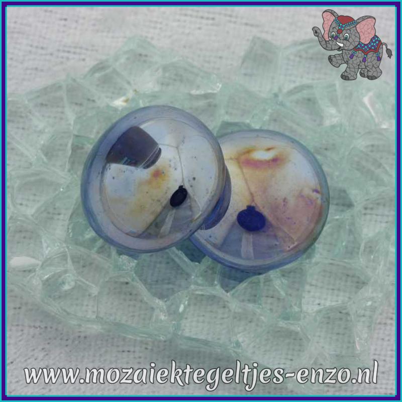 Glasmozaiek steentjes - Glasnuggets/Glasstenen Parelmoer - 18/22 mm - Enkele Kleuren - per 10 stuks - Dark Blue Transparent Opalescent
