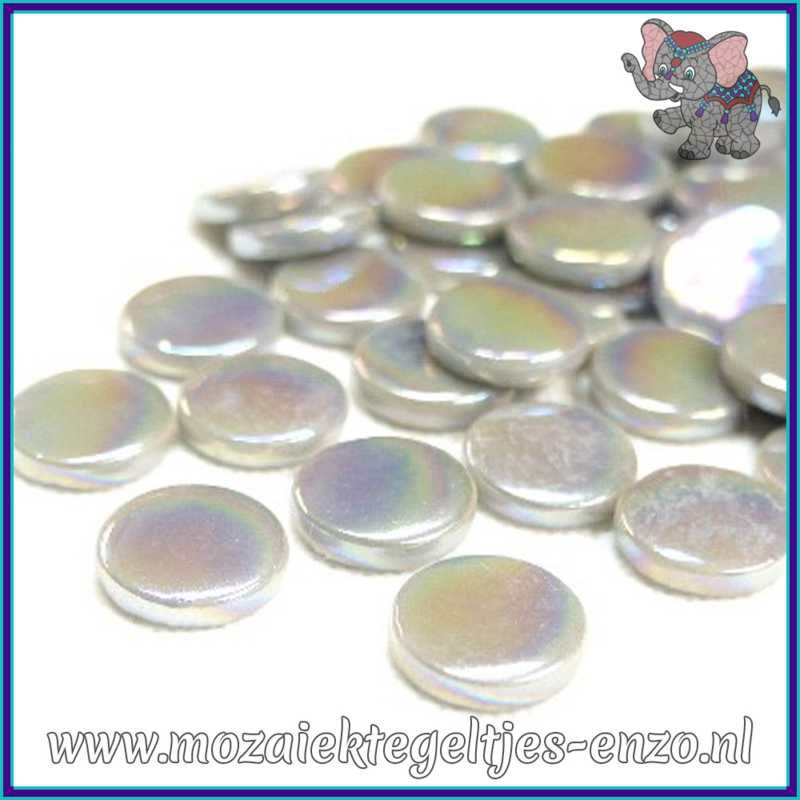 Glasmozaiek steentjes - Penny Rounds Parelmoer - 18 mm - Enkele Kleuren - per 50 gram - Mid Grey
