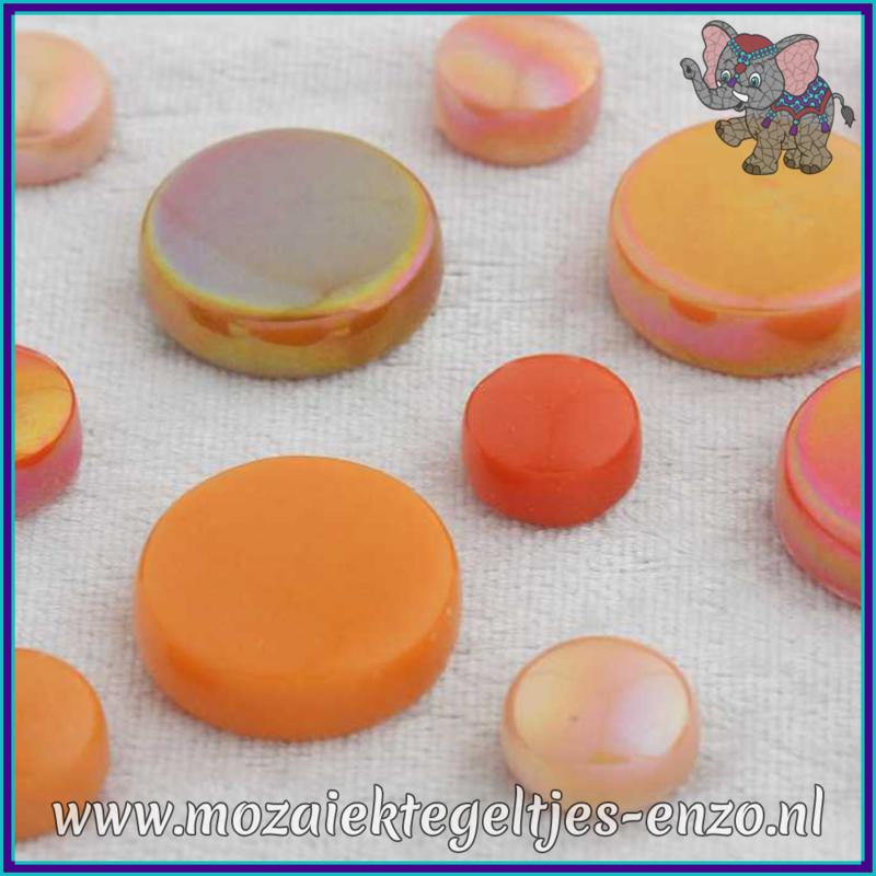Glasmozaiek steentjes - Optic Drops Normaal en Parelmoer - 12 en 20 mm - Gemixte Kleuren - per 50 gram - Rock Orange