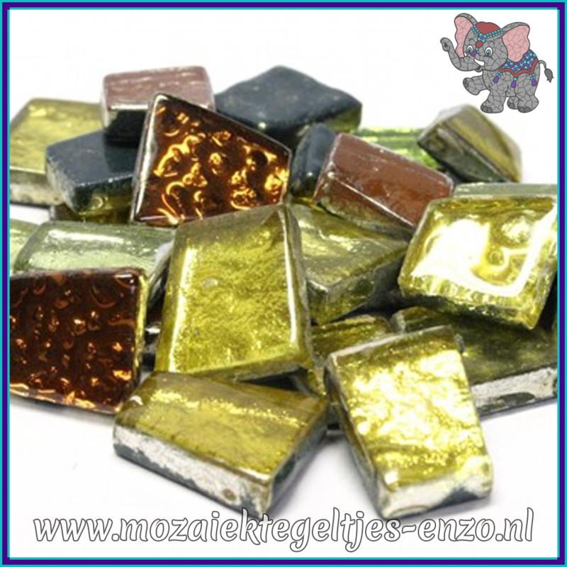 Glasmozaiek steentjes - Moonshine Measures Normaal - Gemixte Kleuren - per 50 gram - Ganymede Gold