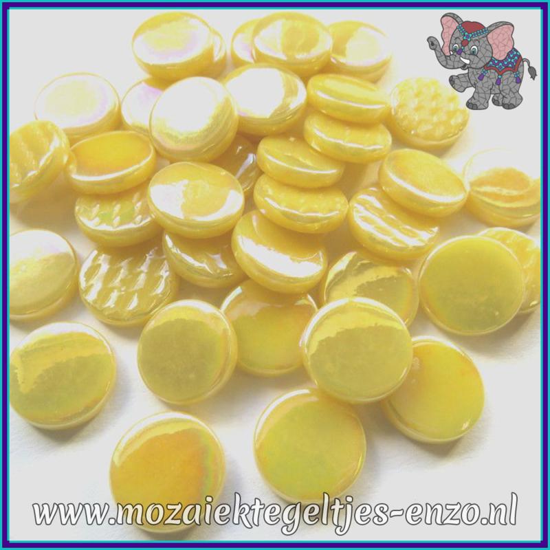Glasmozaiek steentjes - Penny Rounds Parelmoer - 18 mm - Enkele Kleuren - per 50 gram - Corn Yellow