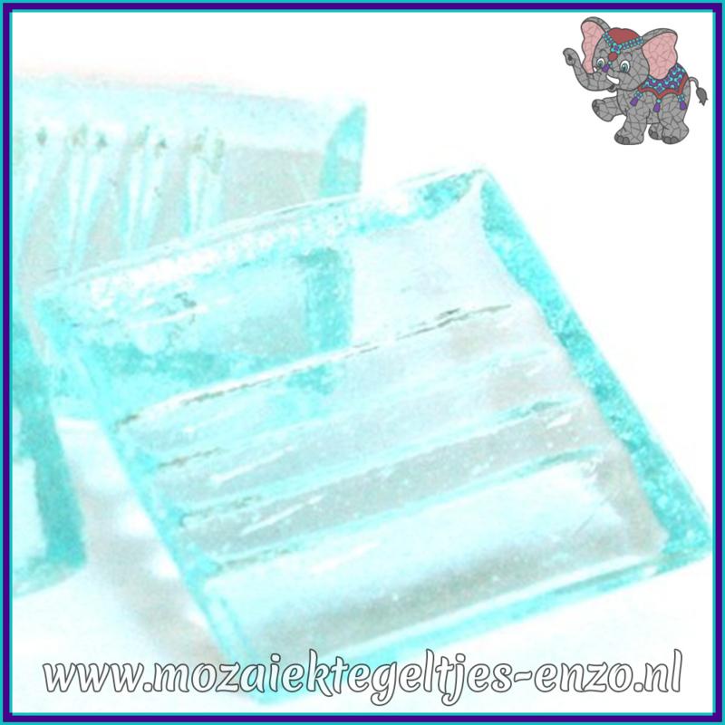 Glasmozaiek tegeltjes - Doorzichtig - 2 x 2 cm - Enkele Kleuren - per 20 steentjes - Ice Blue