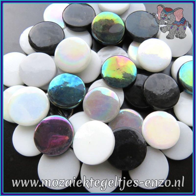 Glasmozaiek steentjes - Penny Rounds Normaal en Parelmoer - 18 mm - Gemixte Kleuren - per 50 gram - Black Russian