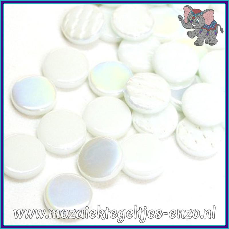 Glasmozaiek steentjes - Penny Rounds Normaal en Parelmoer - 18 mm - Gemixte Kleuren - per 50 gram - Pina Colada