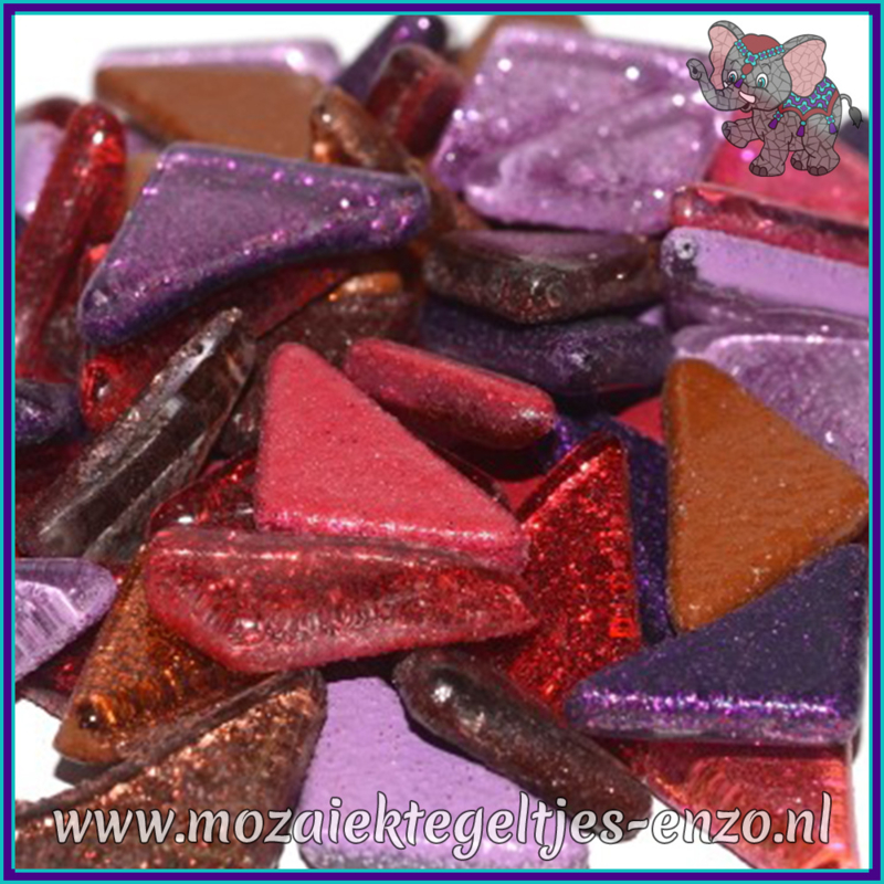 Glasmozaiek steentjes - Soft Glass Puzzles Glitter - Gemixte Kleuren - per 50 gram - Rainbow Fire