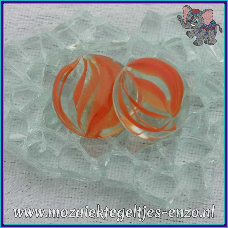 Glasmozaiek steentjes - Glasnuggets/Glasstenen Parelmoer - 18/22 mm - Enkele Kleuren - per 10 stuks - Eye Cat Orange