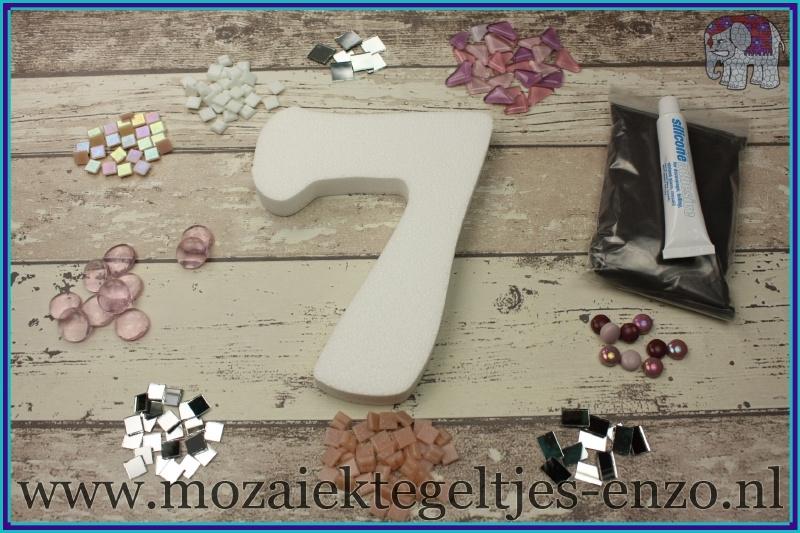 Mozaiek Kant & Klaar Pakket Piepschuim Huisnummer Groot - Cijfer 7 Roze