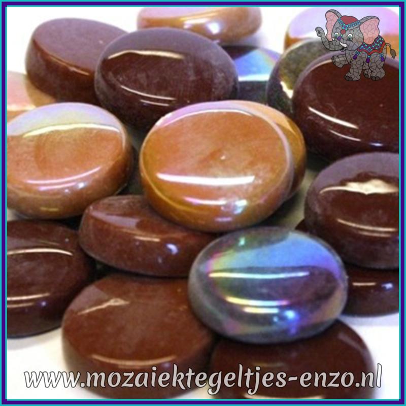 Glasmozaiek steentjes - Optic Drops Normaal en Parelmoer - 20 mm - Gemixte Kleuren - per 50 gram - Chocoluscious