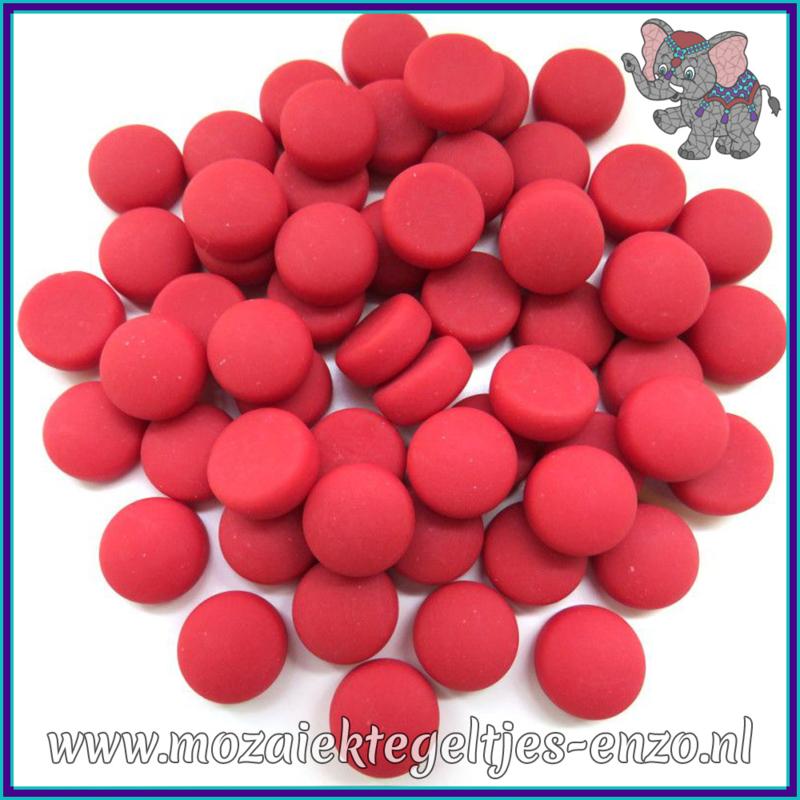 Glasmozaiek steentjes - Optic Drops Matte - 12 mm - Enkele Kleuren - per 50 gram - Red