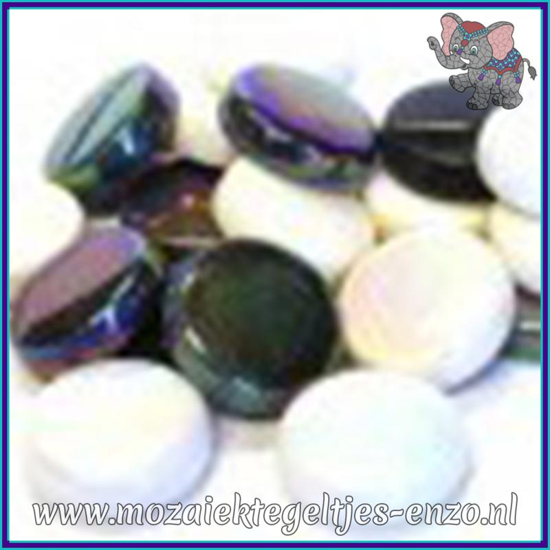 Glasmozaiek steentjes - Optic Drops Normaal en Parelmoer - 20 mm - Gemixte Kleuren - per 50 gram - Ebony and Ivory