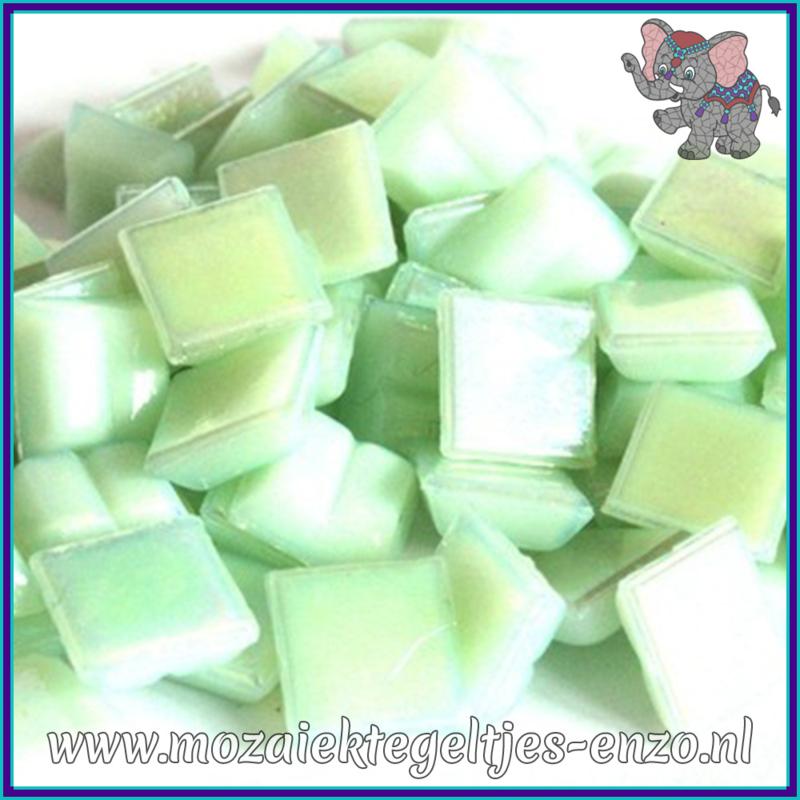 Glasmozaiek tegeltjes - Parelmoer - 1 x 1 cm - Enkele Kleuren - per 60 steentjes - Mini Green Pearl