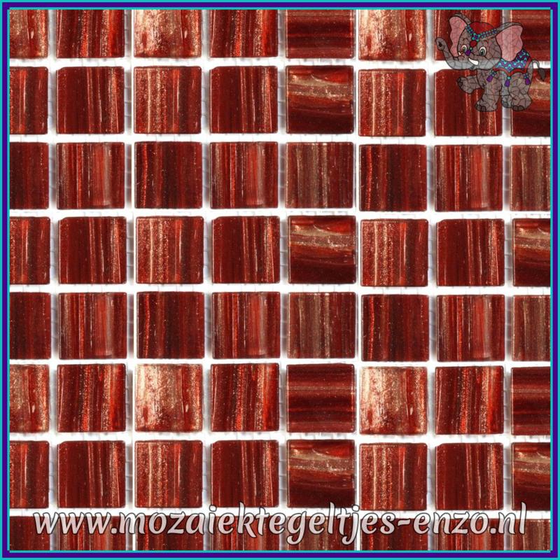 Glasmozaiek tegeltjes - Gold Line - 2 x 2 cm - Enkele Kleuren - per 20 steentjes - Garnet Gold