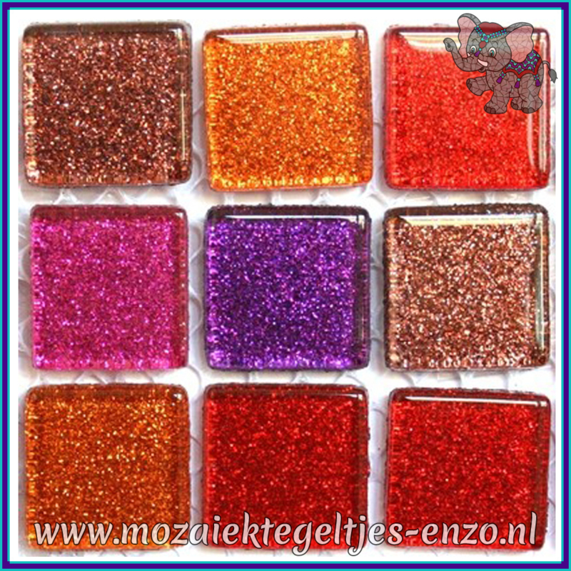 Glasmozaiek tegeltjes - Glitter - 2 x 2 cm - Gemixte Kleuren - per 20 steentjes - Rainbow Fire