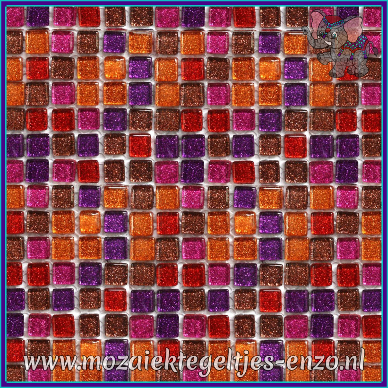Glasmozaiek tegeltjes - Glitter - 1 x 1 cm - Gemixte Kleuren - per 60 steentjes - Mini Rainbow Fire