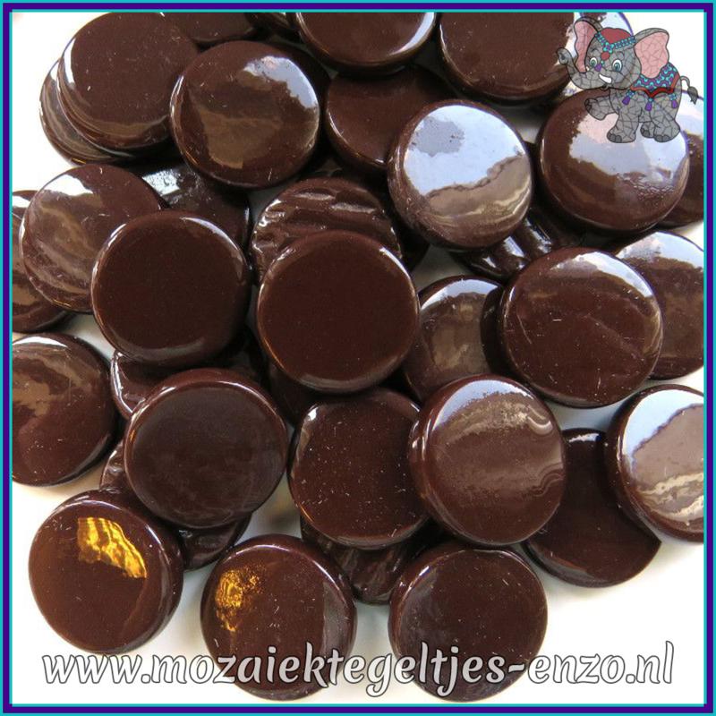 Glasmozaiek steentjes - Penny Rounds Normaal - 18 mm - Enkele Kleuren - per 50 gram - Merbau