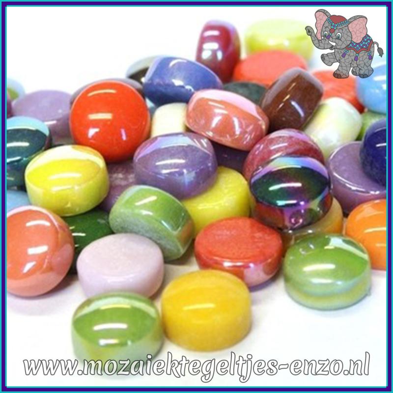 Glasmozaiek steentjes - Optic Drops Normaal en Parelmoer - 12 mm - Gemixte Kleuren - per 50 gram - Mixed Colours