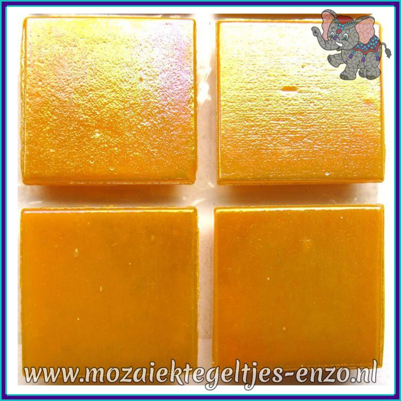 Glasmozaiek tegeltjes - Parelmoer - 2 x 2 cm - Enkele Kleuren - per 20 steentjes - Orange Fire