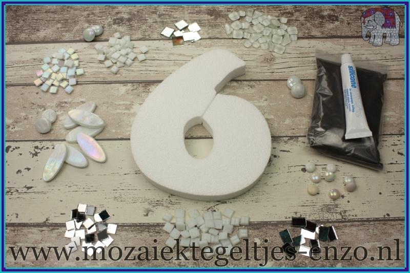 Mozaiek Kant & Klaar Pakket Piepschuim Huisnummer Groot - Cijfer 6 Wit