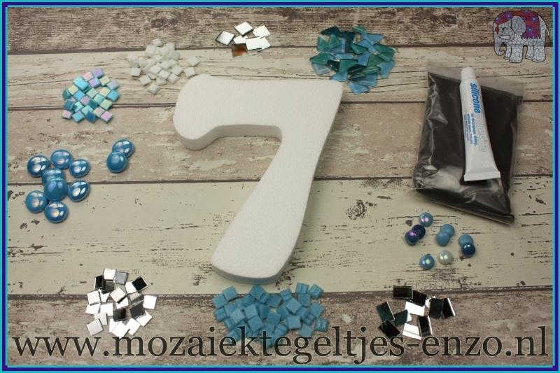 Mozaiek Kant & Klaar Pakket Piepschuim Huisnummer Groot - Cijfer 7 Blauw