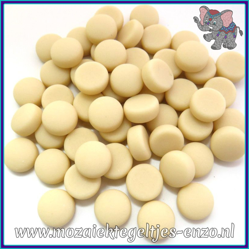 Glasmozaiek steentjes - Optic Drops Matte - 12 mm - Enkele Kleuren - per 50 gram - Cream