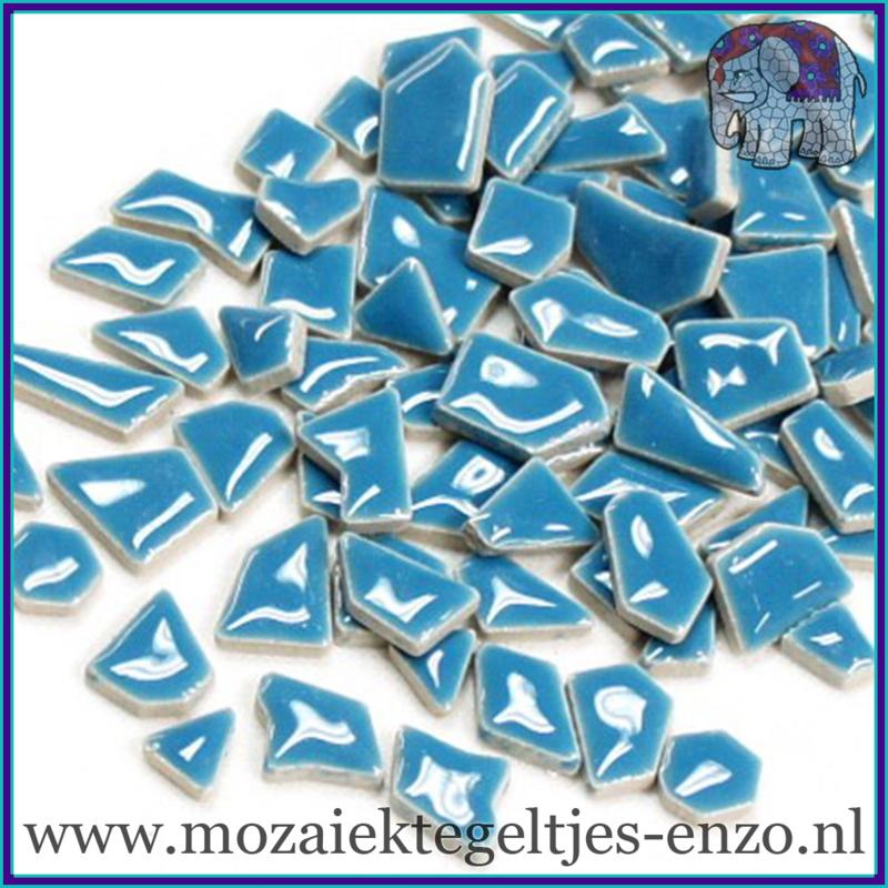 Keramische mozaiek steentjes - Keramiek Puzzel Stukjes Normaal - Enkele Kleuren - per 50 gram - Thalo Blue