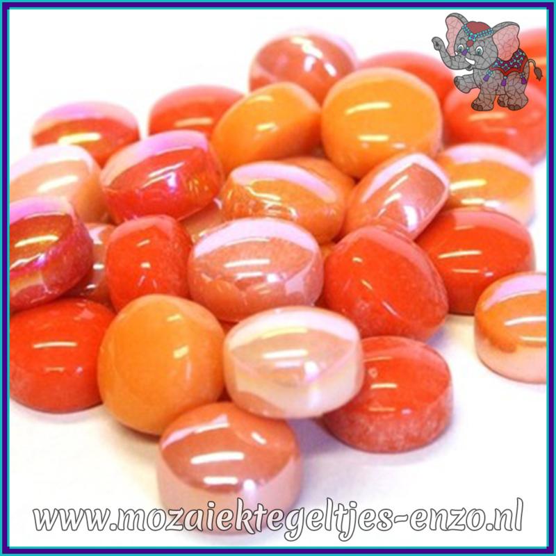 Glasmozaiek steentjes - Optic Drops Normaal en Parelmoer - 12 mm - Gemixte Kleuren - per 50 gram - Rock Orange