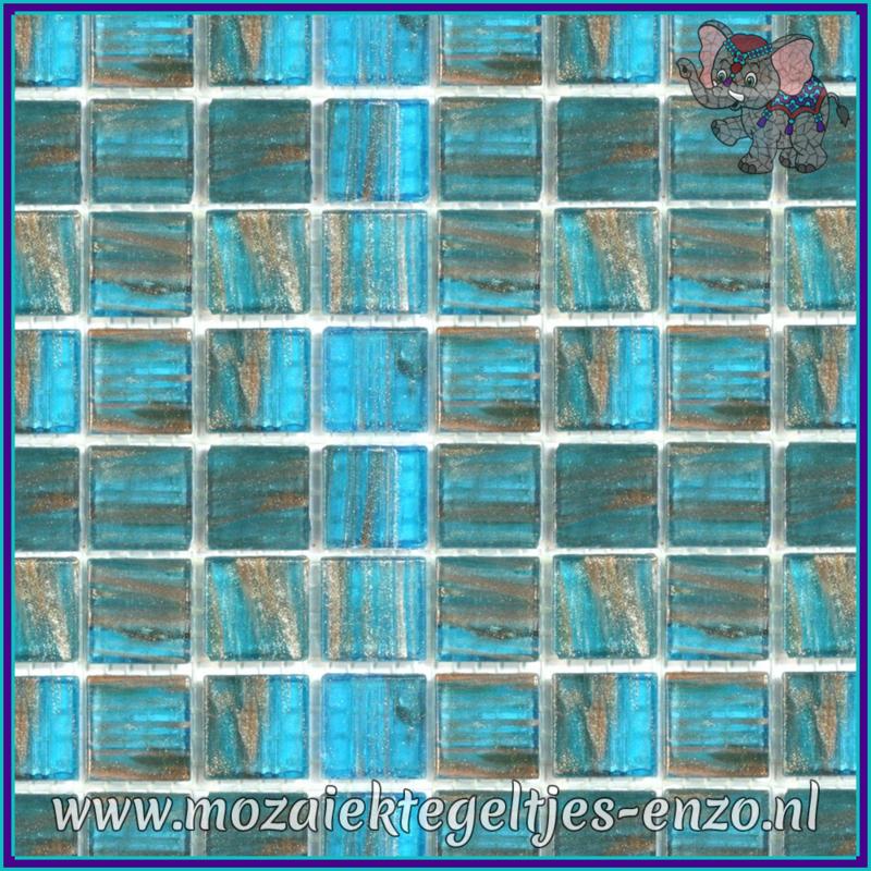 Glasmozaiek tegeltjes - Gold Line - 2 x 2 cm - Enkele Kleuren - per 20 steentjes - Reef Jewel