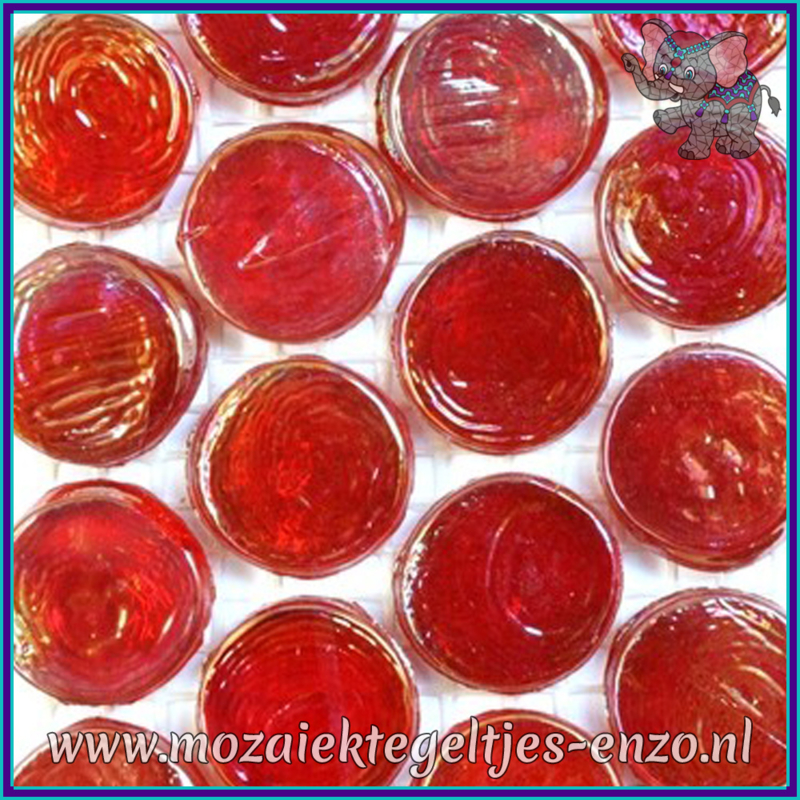 Glasmozaiek steentjes - Radiant Round Parelmoer - 18 mm - Enkele Kleuren - per 1 stuk - Bombay