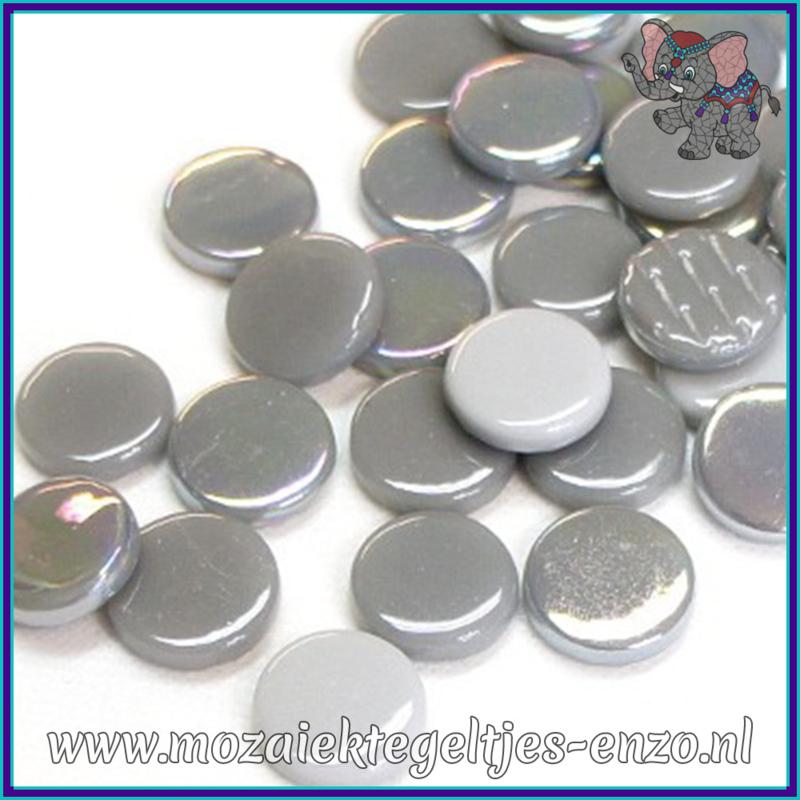 Glasmozaiek steentjes - Penny Rounds Normaal en Parelmoer - 18 mm - Gemixte Kleuren - per 50 gram - Grey Goose