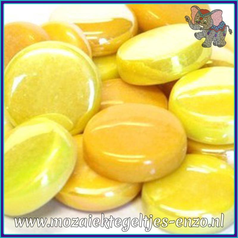 Glasmozaiek steentjes - Optic Drops Normaal en Parelmoer - 20 mm - Gemixte Kleuren - per 50 gram - French Mustard