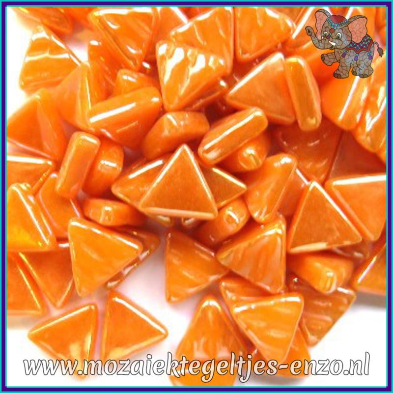 Glasmozaiek steentjes - Art Angles Parelmoer - 10 mm - Enkele Kleuren - per 50 gram - Opal Orange