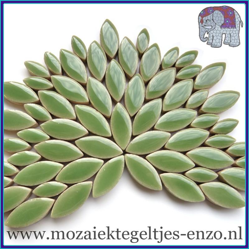 Keramische mozaiek steentjes - Petals Bloemblaadjes Normaal - 14 en 21 mm - Enkele Kleuren - per 50 gram - Jade