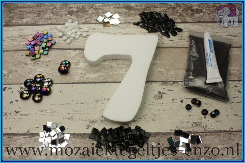Mozaiek Kant & Klaar Pakket Piepschuim Huisnummer Groot - Cijfer 7 Zwart