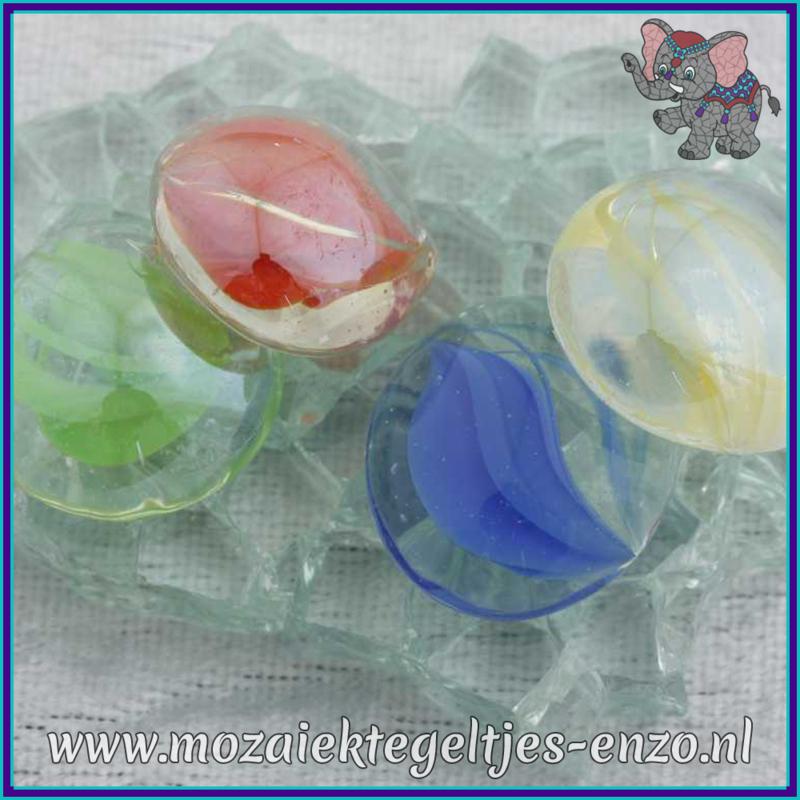 Glasmozaiek steentjes - Glasnuggets/Glasstenen Parelmoer - 18/22 mm - Enkele Kleuren - per 10 stuks - Eye Cat Mix