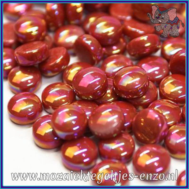 Glasmozaiek steentjes - Optic Drops Parelmoer - 12 mm - Enkele Kleuren - per 50 gram - Blood Red