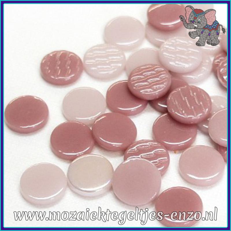 Glasmozaiek steentjes - Penny Rounds Normaal en Parelmoer - 18 mm - Gemixte Kleuren - per 50 gram - Pink Cosmopolitan