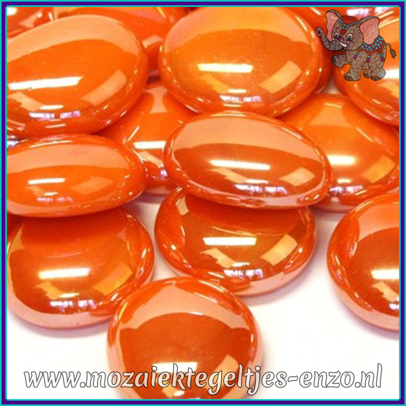 Glasmozaiek steentjes - Glasnuggets/Glasstenen Parelmoer - 18/22 mm - Enkele Kleuren - per 10 stuks - Orange Opalescent
