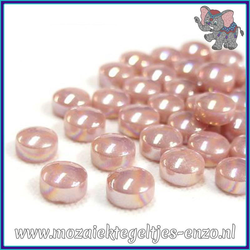 Glasmozaiek steentjes - Optic Drops Parelmoer - 12 mm - Enkele Kleuren - per 50 gram - Rose Petal