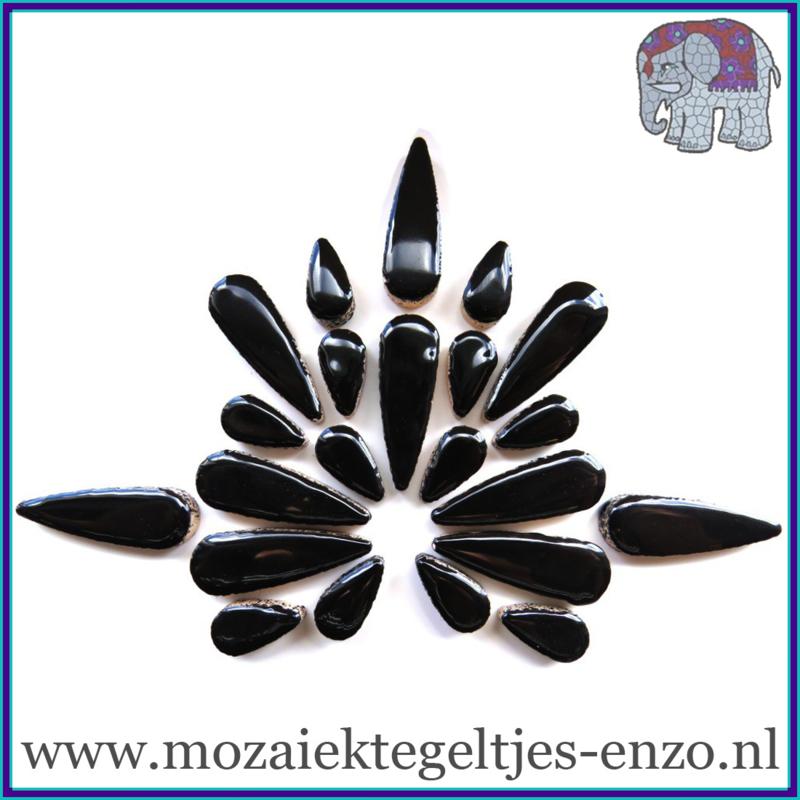 Keramische mozaiek steentjes - Keramiek Teardrops Druppels Normaal - 15 en 30 mm - Enkele Kleuren - per 50 gram - Black