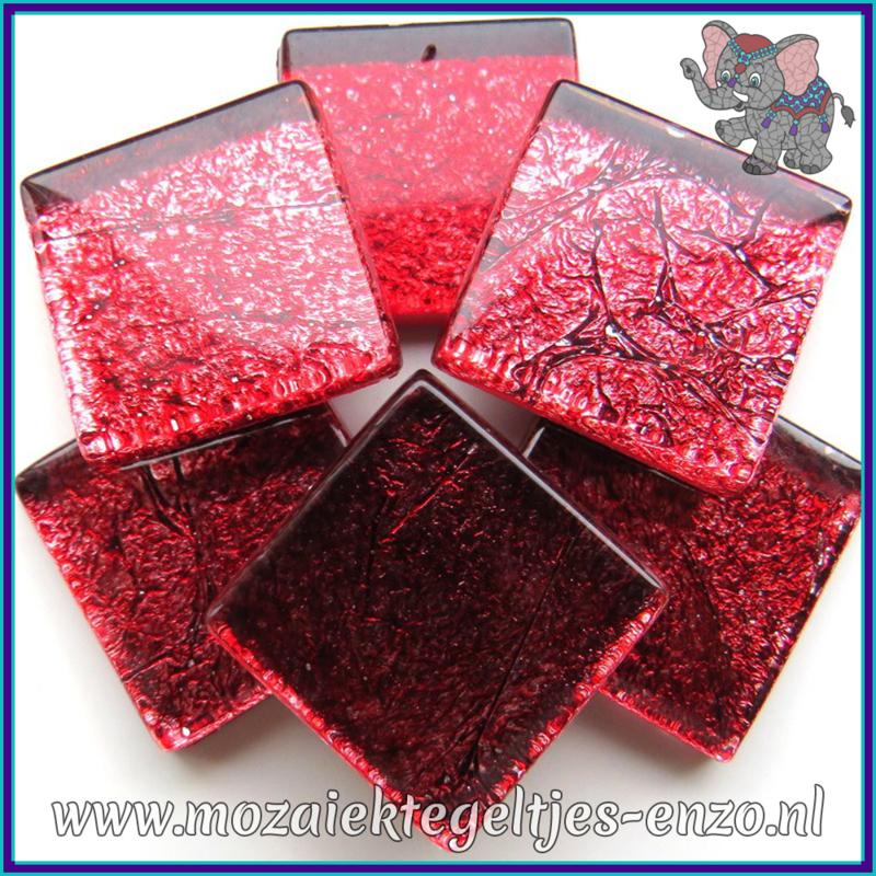 Glasmozaiek tegeltjes - Foil - 2 x 2 cm - Enkele Kleuren - per 20 steentjes - Rose