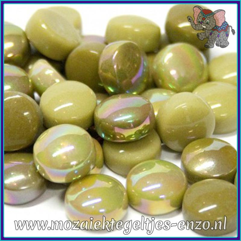 Glasmozaiek steentjes - Optic Drops Normaal en Parelmoer - 12 mm - Gemixte Kleuren - per 50 gram - Mossy Green