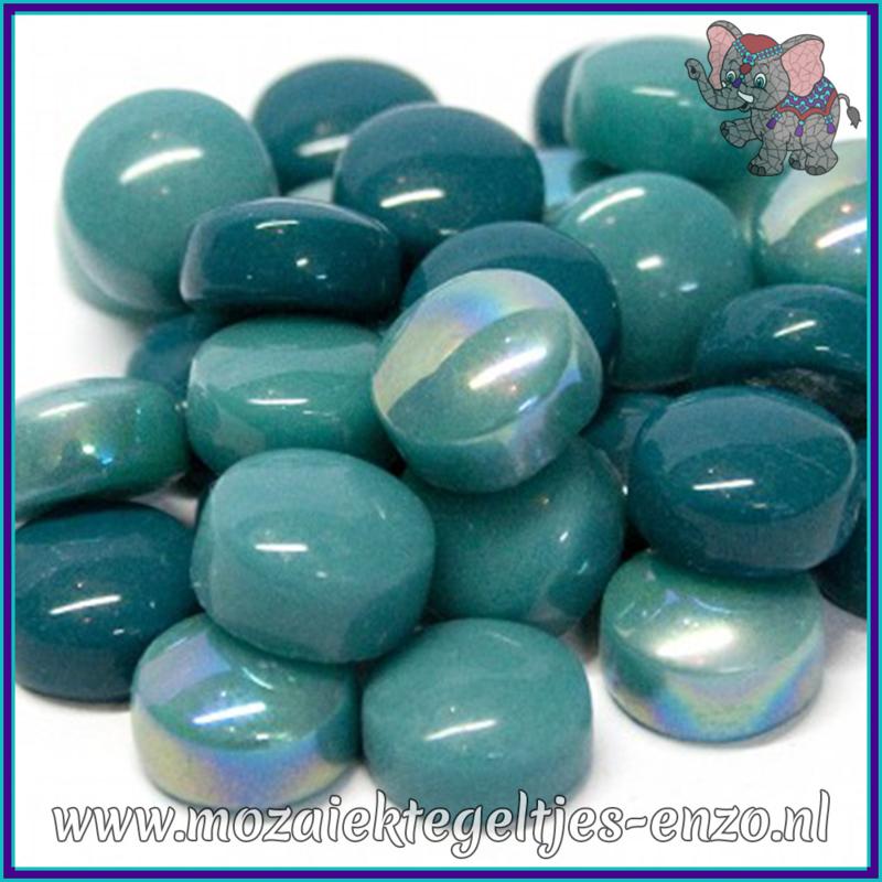 Glasmozaiek steentjes - Optic Drops Normaal en Parelmoer - 12 mm - Gemixte Kleuren - per 50 gram - Winged Teal