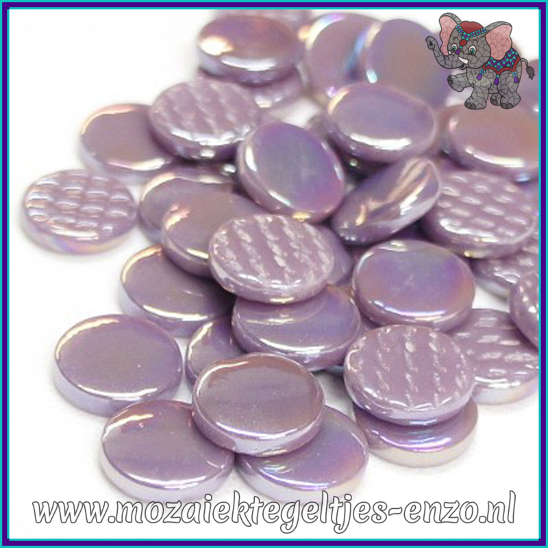 Glasmozaiek steentjes - Penny Rounds Parelmoer - 18 mm - Enkele Kleuren - per 50 gram - Lilac