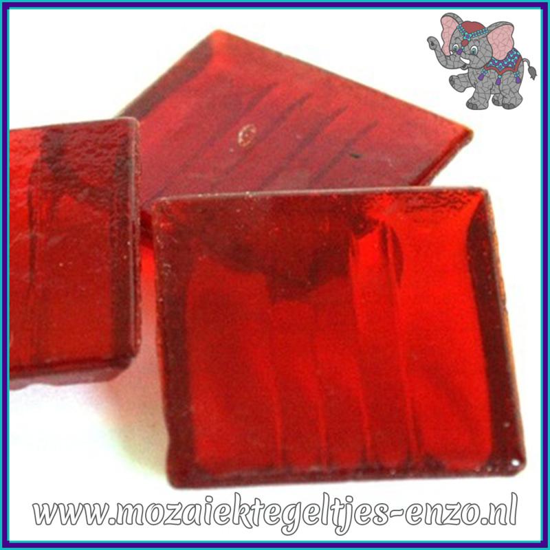 Glasmozaiek tegeltjes - Doorzichtig - 2 x 2 cm - Enkele Kleuren - per 20 steentjes - Red