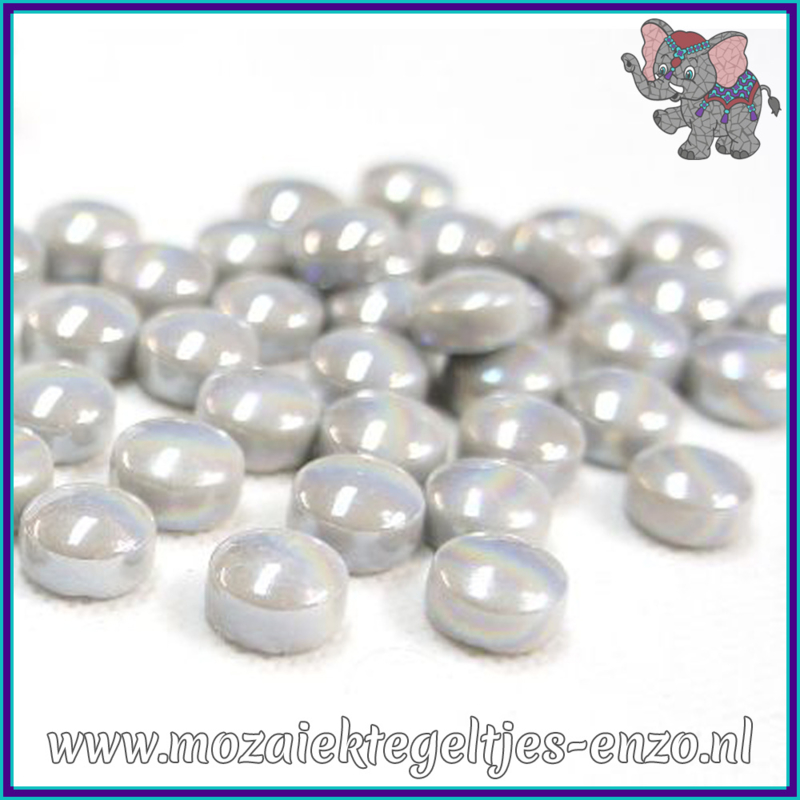 Glasmozaiek steentjes - Optic Drops Parelmoer - 12 mm - Enkele Kleuren - per 50 gram - Pale Grey